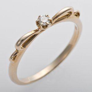 その他 K10イエローゴールド 天然ダイヤリング 指輪 ピンキーリング ダイヤモンドリング 0.03ct 4号 アンティーク調 プリンセス リボンモチーフ ds-1244489