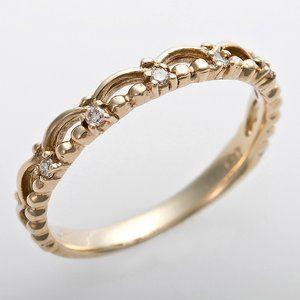 その他 K10イエローゴールド 天然ダイヤリング 指輪 ピンキーリング ダイヤモンドリング 0.03ct 4号 アンティーク調 プリンセス ティアラモチーフ ds-1244498