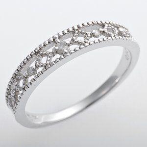 その他 K10ホワイトゴールド 天然ダイヤリング 指輪 ピンキーリング ダイヤモンドリング 0.02ct 4号 アンティーク調 プリンセス ds-1244544