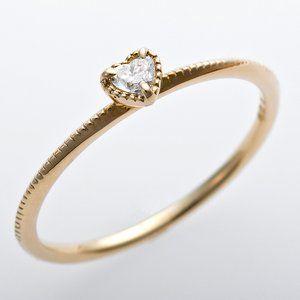その他 K10イエローゴールド 天然ダイヤリング 指輪 ダイヤ0.05ct 9号 アンティーク調 プリンセス ハートモチーフ ds-1244567