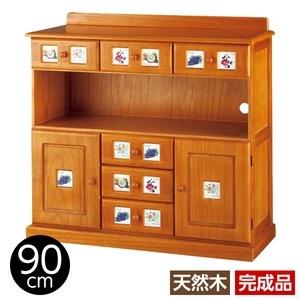 その他 サイドボード/リビングボード (南欧風家具) 【4: 幅90cm】 木製 ライトブラウン 【完成品】 ds-1265524