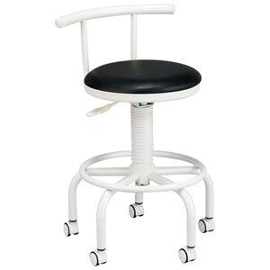 その他 座り心地のよいキッチンチェア フットレスト/キャスター付き 高さ調節可 ブラック(黒) ds-1332531