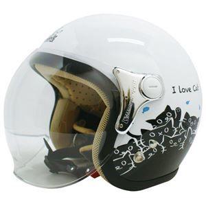 その他 ダムトラックス(DAMMTRAX) ジェットヘルメット CARINA P.WHITE-CAT レディースフリー(57~58cm) ds-1426222