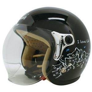 その他 ダムトラックス(DAMMTRAX) ジェットヘルメット CARINA P.ブラック-CAT レディースフリー(57~58cm) ds-1426223
