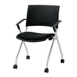 その他 ジョインテックス 会議椅子(スタッキングチェア/ミーティングチェア) 肘付き/キャスター付き FJC-K5A ブラック 【完成品】 ds-1324104