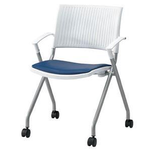 その他 ジョインテックス 会議椅子(スタッキングチェア/ミーティングチェア) 肘付き 座面:合成皮革(合皮) キャスター付き FJC-K6AL NV 【完成品】 ds-1324574