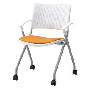 その他 ジョインテックス 会議椅子(スタッキングチェア/ミーティングチェア) 肘付き 座面:合成皮革(合皮) キャスター付き FJC-K6AL OR 【完成品】 ds-1324575