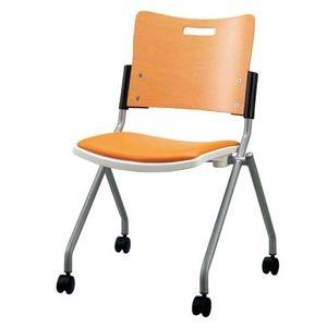 その他 ジョインテックス 会議椅子(スタッキングチェア/ミーティングチェア) 肘なし 座面:合成皮革(合皮) キャスター付き FJC-K8L OR 【完成品】 ds-1325065