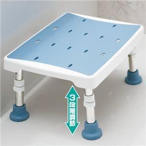 その他 浴室用2ウェイステップ台(風呂椅子/踏み台) 幅40cm×奥行30cm 脚ゴム付き ブルー(青) ds-1455373