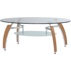その他 強化ガラス製センターテーブル 【アーク】 丸型 棚板収納付き NA ナチュラル ds-980751