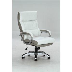 その他 リクライニングデスクチェア(椅子) 昇降機能付き 【マリーノ】 肘掛け/キャスター付き WH ホワイト(白)【組立品】 ds-981577