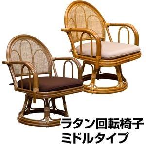その他 360度回転ラタン座椅子 【1脚】 【ミドルタイプ】 木製(天然木) クッション/肘付きブラウン 【完成品】 ds-1224891
