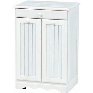 その他 ダストボックス 木製おしゃれゴミ箱 2分別 15Lペール2個/キャスター付き 白(ホワイト) 【完成品】 ds-1314107