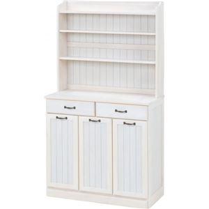 その他 ダストボックス 木製おしゃれゴミ箱 3分別 25Lペール3個付き 白(ホワイト) ds-1314396【納期目安:納期未定】