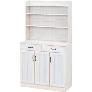 その他 キッチンカウンター/キッチン収納 【幅87cm】 木製 棚/高さ調節可 カントリー調 ホワイト(白) 【代引不可】 ds-1314643