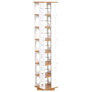 その他 回転ラック(本棚/ブックシェルフ) 7段 高さ167cm 大容量 スリム ホワイト(白) 〔本収納/CD収納〕 ds-1315017