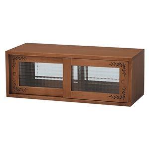 その他 カウンター上収納ラック(キッチン収納/スパイスラック) 幅60cm 木製 ガラス引き戸付き カントリー調 ライトブラウン ds-1315397