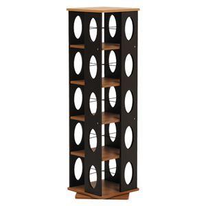 その他 回転ラック(本棚/ブックシェルフ) 5段 高さ120cm 大容量 スリム ブラウン 〔本収納/CD収納〕 ds-1315491