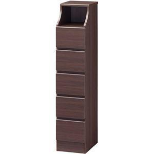 その他 木製シンプルチェスト/収納タンス 【5段 幅28cm×高さ130cm】 ブラウン 収納棚付き 組み立て簡単 『CHESCA チェスカ』 ds-1408343