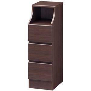 その他 木製シンプルチェスト/収納タンス 【3段 幅28cm】 ブラウン 収納棚付き 組み立て簡単 『CHESCA チェスカ』 ds-1408358