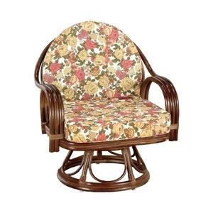 その他 座椅子/天然籐360度回転チェア 高さが選べるゆったり 【ハイタイプ】 座面高/約42cm 木製 持ち手/肘掛け付き 【代引不可】 ds-1569448
