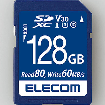 エレコム 128GB U3 80MB/s MF-FS128GU13V3R SDXCカード/データ復旧サービス付/ビデオスピードクラス対応/UHS-I