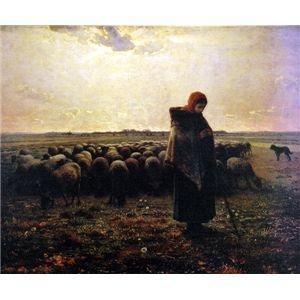 その他 世界の名画シリーズ、プリハード複製画 ジャン・フランソワ・ミレー作 「羊飼いの少女」【代引不可】 ds-193543