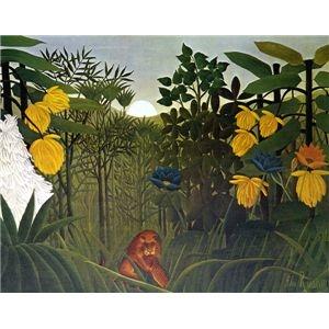 その他 世界の名画シリーズ、プリハード複製画 アンリ・ルソー作 「ライオンの食事」【代引不可】 ds-195175