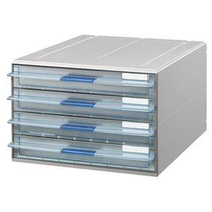 その他 (まとめ) コクヨ レターケース(UNIFEEL) 透明引出しタイプ A4タテ 浅型4段 ライトグレー LC-UNT104M 1台 【×2セット】 ds-1572840