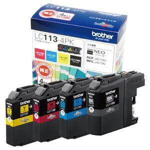その他 (まとめ) ブラザー BROTHER インクカートリッジ お徳用 4色 LC113-4PK 1箱(4個:各色1個) 【×3セット】 ds-1573350