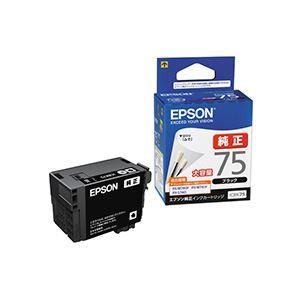 その他 (まとめ) エプソン EPSON インクカートリッジ ブラック 大容量 ICBK75 1個 【×3セット】 ds-1577218