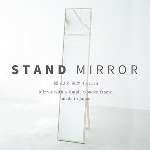 その他 細枠スタンドミラー 幅32cm(ホワイト/白) 天然木/姿見鏡/スリム/高級感/木製/飛散防止加工/折りたたみ/北欧風/日本製/完成品/NK-2 ds-1604121