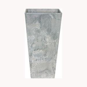 その他 底面給水型 植木鉢/プランター 【トールスクエア型 グレー 幅35cm×高さ70cm】 底栓付 『アートストーン』 〔園芸用品〕 ds-1607967