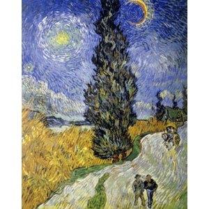 その他 世界の名画シリーズ、プリハード複製画 ヴィンセント・ヴァン・ゴッホ作 「糸杉と星の道」【代引不可】 ds-1614313
