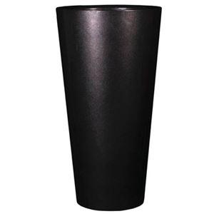 その他 植木鉢/プランター 【トールラウンド型 メタリックブラック 高さ49cm】 中底網付 底穴なし 『ヴォーグ』 〔ガーデニング用品〕 ds-1628851