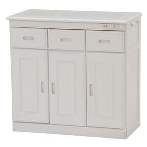その他 キッチンカウンター(キッチン収納/キッチンボード) 幅72cm 木製 二口コンセント/キャスター付き ホワイト(白) ds-1629301