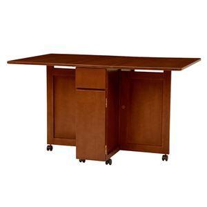 その他 バタフライテーブル(折りたたみ式テーブル) ダークブラウン 木製/オーク突板 引き出し収納/キャスター付き【代引不可】 ds-1629356