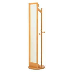 その他 回転式ミラー/全身姿見鏡 【ナチュラル】 木製 幅φ45cm×高さ170cm ハンガーラック付き ds-1629361