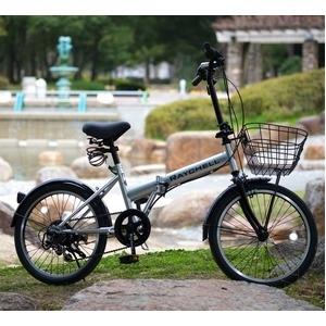 その他 折りたたみ自転車 20インチ/シルバー(銀) シマノ6段変速 ノーパンク仕様 【Raychell】 レイチェル R-241N ds-1634472