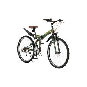 その他 折りたたみ自転車 26インチ/オリーブ シマノ18段変速 ブロックタイヤ 【Raychell】 レイチェル R-314N ds-1634474