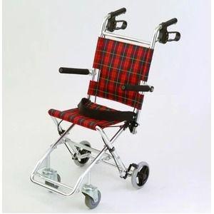 その他 介助式小型折りたたみ車椅子 チビポン/チェックレッド(赤) 携帯タイプ/跳ね上げ式肘かけ 【MIWA】 ミワ HTB-AC1 ds-1634650