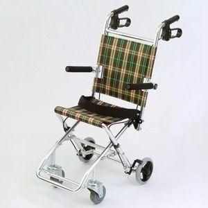 その他 介助式小型折りたたみ車椅子 チビポン/チェックダークグリーン(緑) 携帯タイプ/跳ね上げ式肘かけ 【MIWA】 ミワ HTB-AC1 ds-1634652