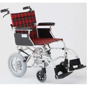 その他 介助式車椅子 チェックレッド(赤) アルミ製 バンドブレーキ仕様/軽量コンパクトタイプ 【MIWA】 ミワ HTB-12D ds-1634659