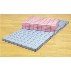 その他 腰を支える3つ折れ格子柄バランスマットレス セミダブル ブルー【日本製】 ds-1637808