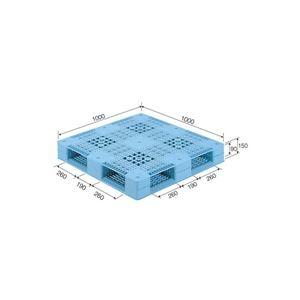 その他 三甲(サンコー) プラスチックパレット/プラパレ 【両面使用型】 段積み可 R4-1010 ライトブルー(青)【代引不可】 ds-1647393