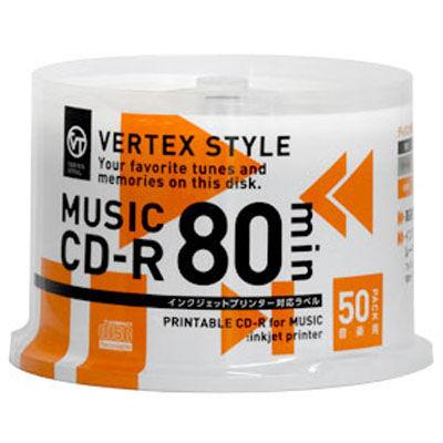 大人気 VERTEX CD-R Audio 80分 おすすめ 50P 50CDRA.80VX.WPSP ホワイト インクジェットプリンタ対応 スピンドル
