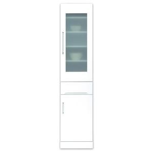 その他 スリムボード食器棚/キッチン収納 幅40cm 飛散防止加工ガラス使用 移動棚付き 日本製 ホワイト(白) 【完成品 開梱設置】 ds-1645367