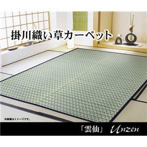 その他 掛川織 い草カーペット 『雲仙』 ブルー 江戸間10畳(435×352cm) ds-1668353