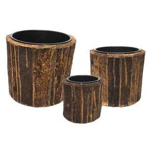 その他 室内用植木鉢カバー 【ブラウン ラウンド型】 3サイズ×1組 インナーポット付 『タック』 〔園芸 ガーデニング用品〕 ds-1671602