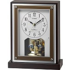 リズム時計 シチズン 電波時計 置き時計 クリスタル回転飾り付き 連続秒針 木枠(茶色半艶仕上げ) 8RY413-006
